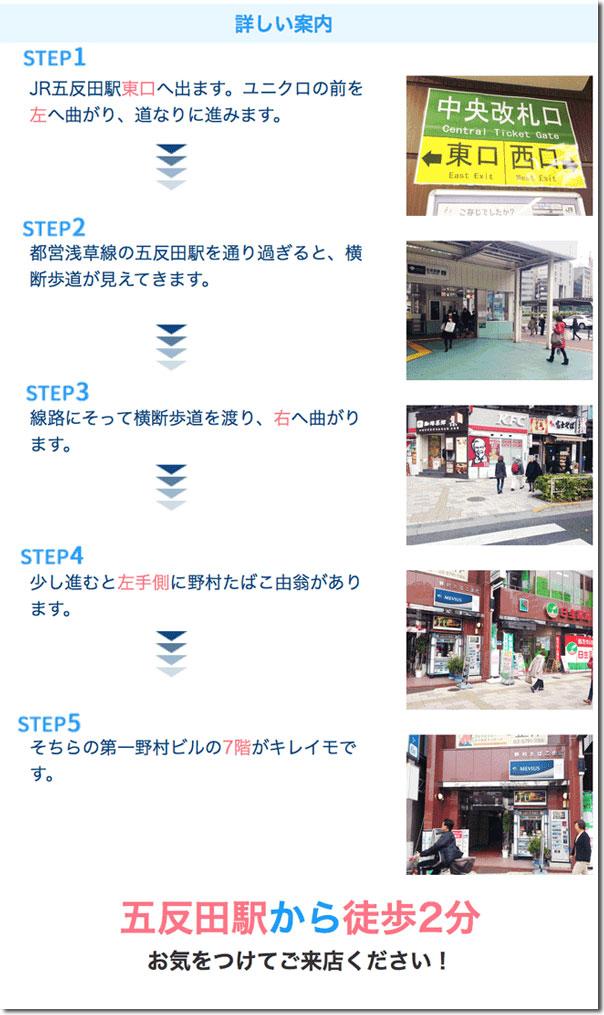 キレイモ五反田店までのアクセス