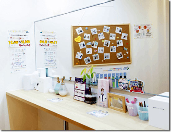 キレイモ横浜の化粧室の様子