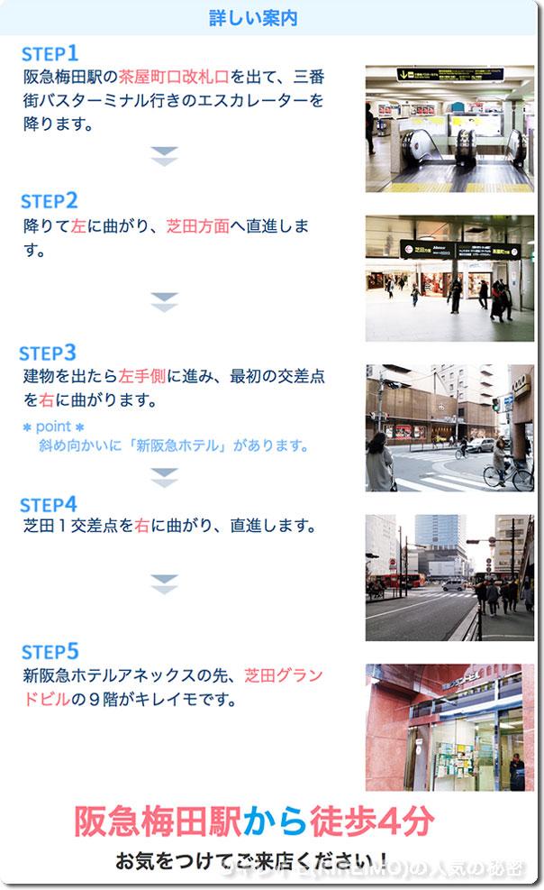 キレイモ阪急梅田駅前店までの行き方