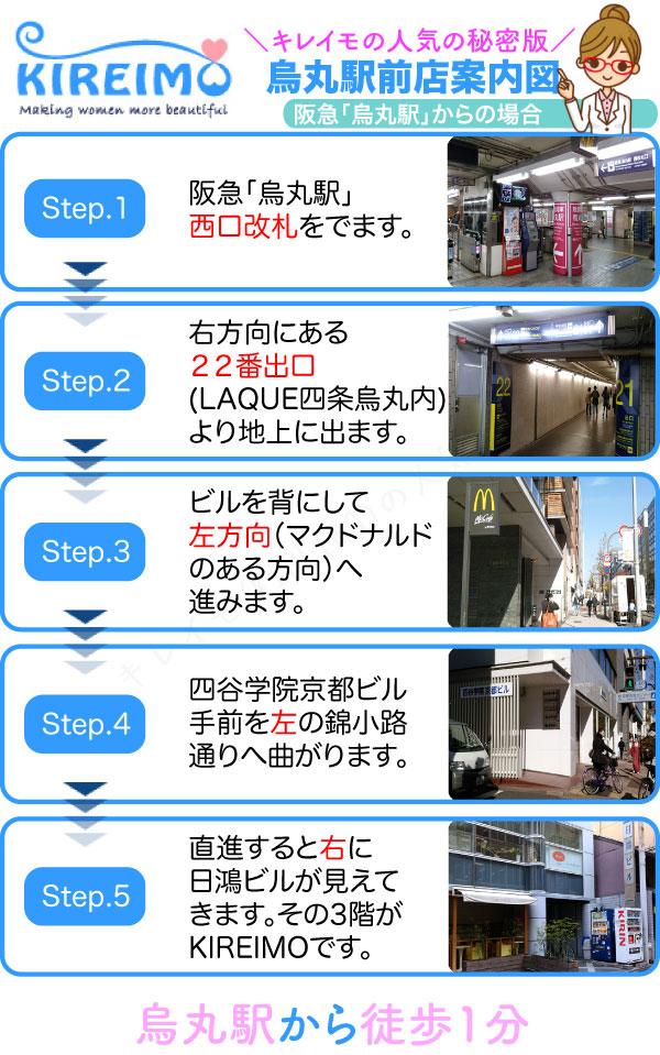 キレイモ烏丸駅前店までの行き方