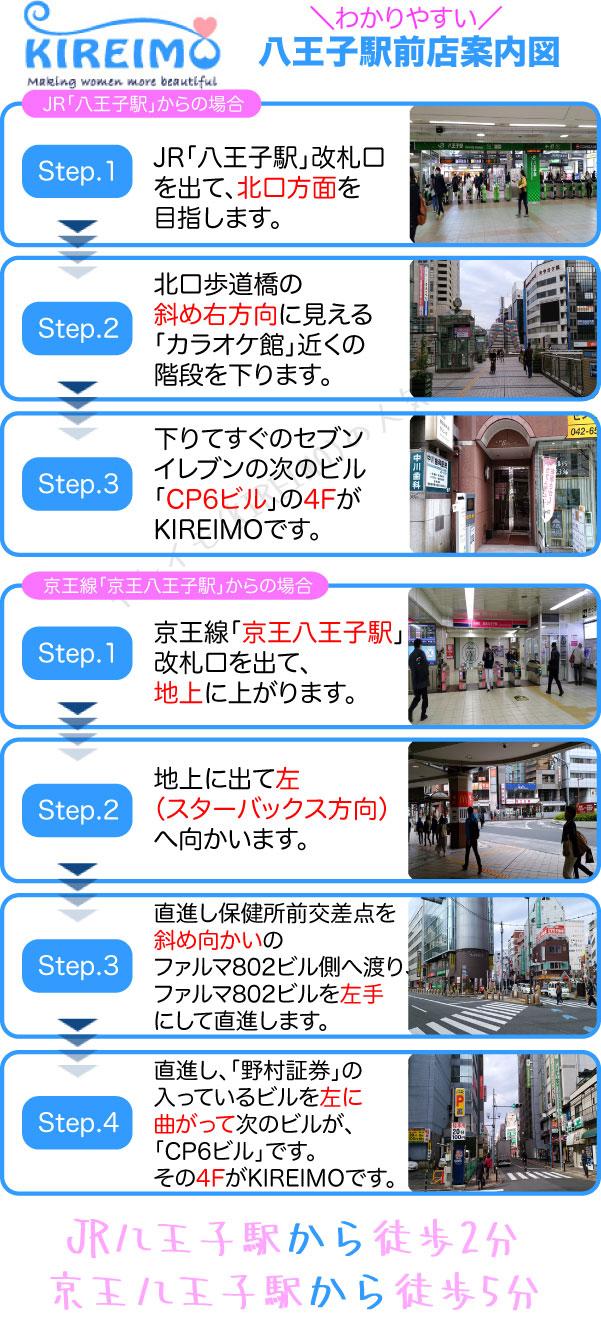 キレイモ八王子駅前店までの行き方