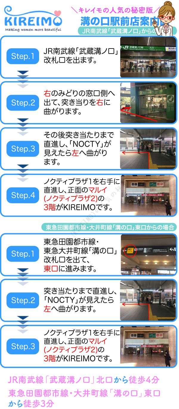 キレイモ溝口駅前店までの行き方