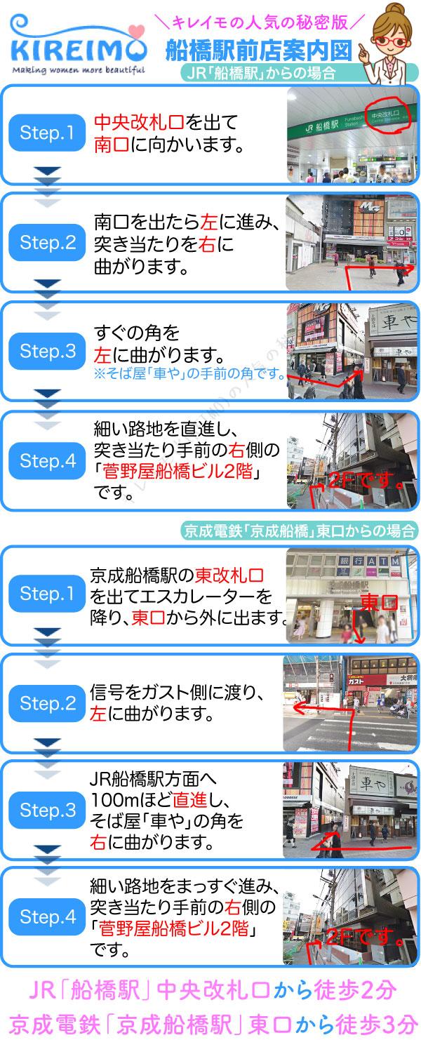 キレイモ船橋駅前店までの行き方