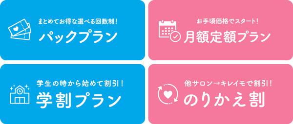 キレイモ金沢香林坊アトリオ店の料金プラン