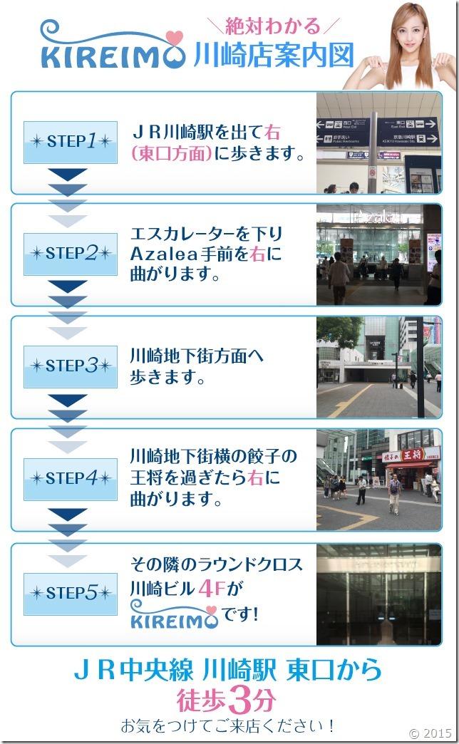 キレイモ川崎店までの道順(JR川崎駅から徒歩3分)