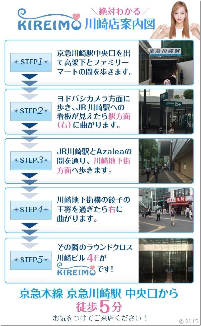 キレイモ川崎店までの道順(京急川崎駅から徒歩5分)